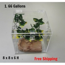 1 5/8 GALLON CAGE WITH HINGED TOP FOR TARANTULA,REPTILES,SPIDERS, TERRARIUM, SNAKE